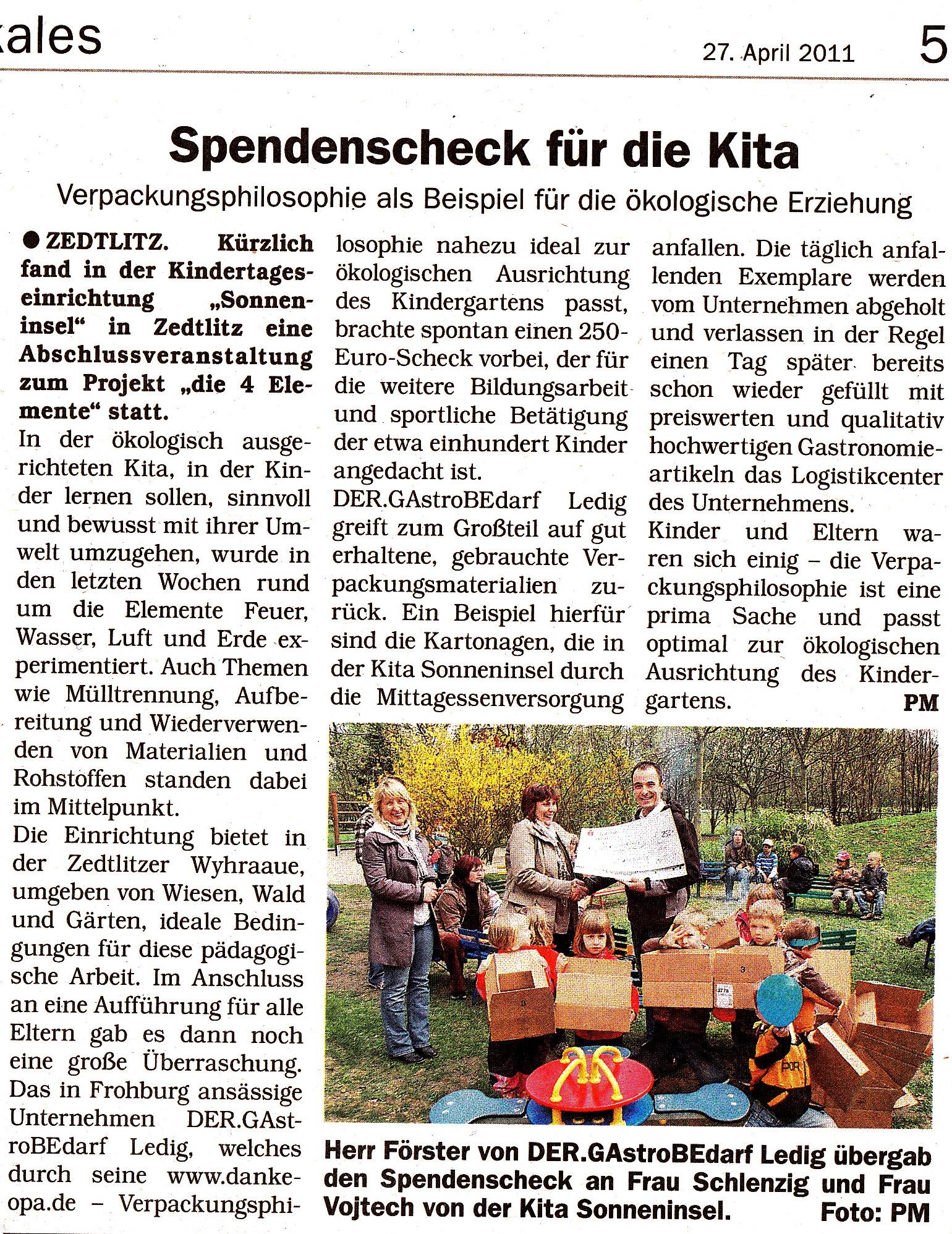 Ausschnitt aus Rundschau BNA/GTH vom 27.04.2011